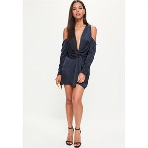 Missguided off shoulder navy blue dress